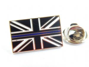 Thin Blue Line Lapel Badge Union Jack Police Mourning Band